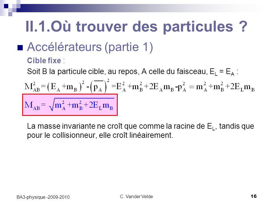 C.Vander Velde16 BA3-physique -2009-2010 II.1.Où trouver des particules .