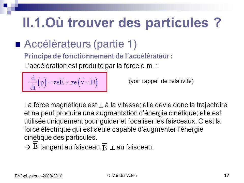 C.Vander Velde17 BA3-physique -2009-2010 II.1.Où trouver des particules .