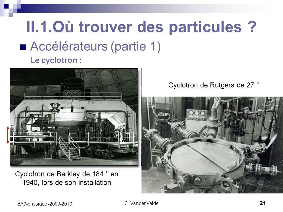 C.Vander Velde21 BA3-physique -2009-2010 II.1.Où trouver des particules .