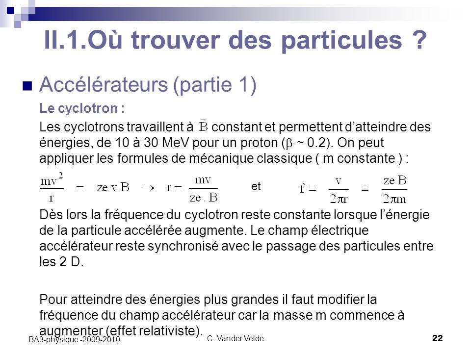 C.Vander Velde22 BA3-physique -2009-2010 II.1.Où trouver des particules .