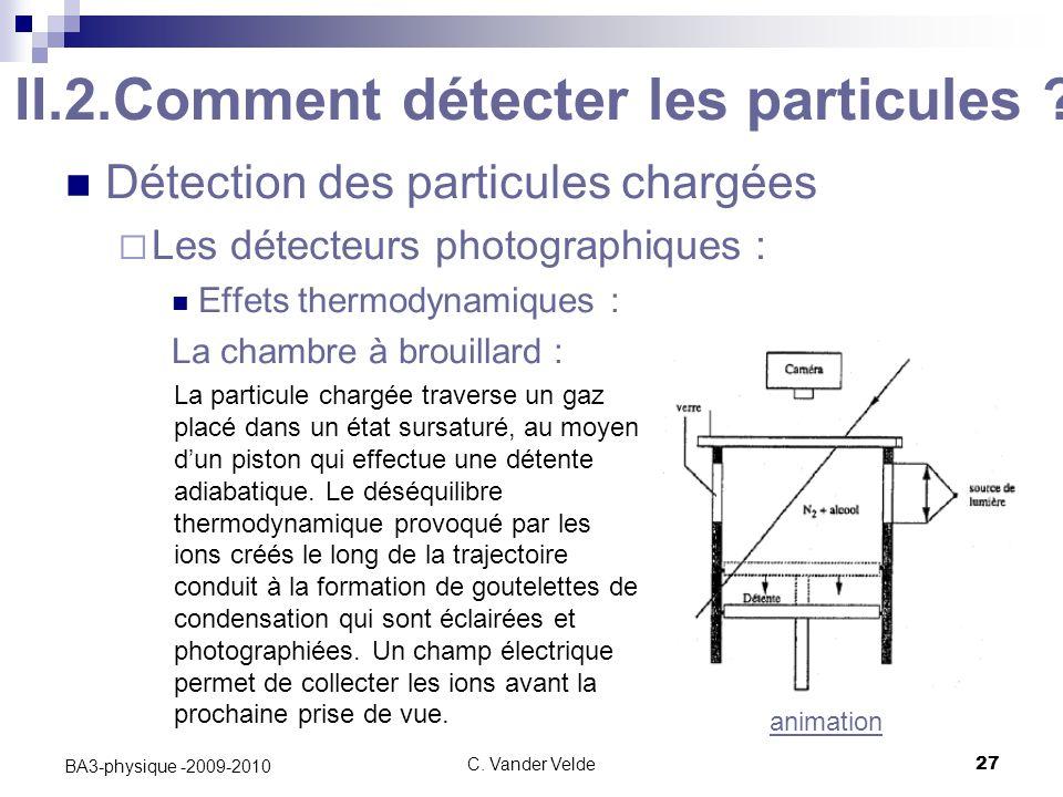 C.Vander Velde27 BA3-physique -2009-2010 II.2.Comment détecter les particules .