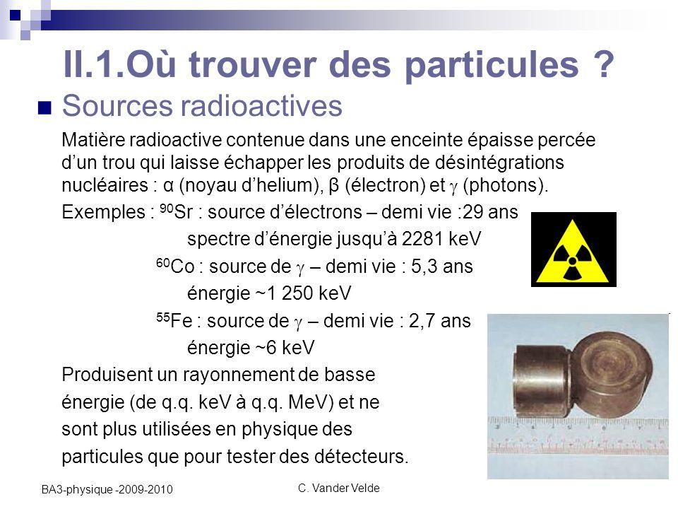 C.Vander Velde14 BA3-physique -2009-2010 II.1.Où trouver des particules .