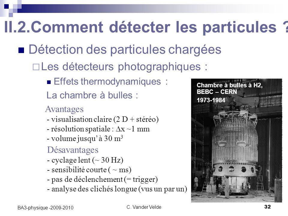 C.Vander Velde32 BA3-physique -2009-2010 II.2.Comment détecter les particules .
