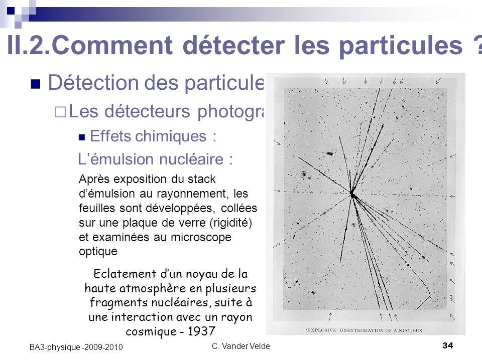 C.Vander Velde34 BA3-physique -2009-2010 II.2.Comment détecter les particules .