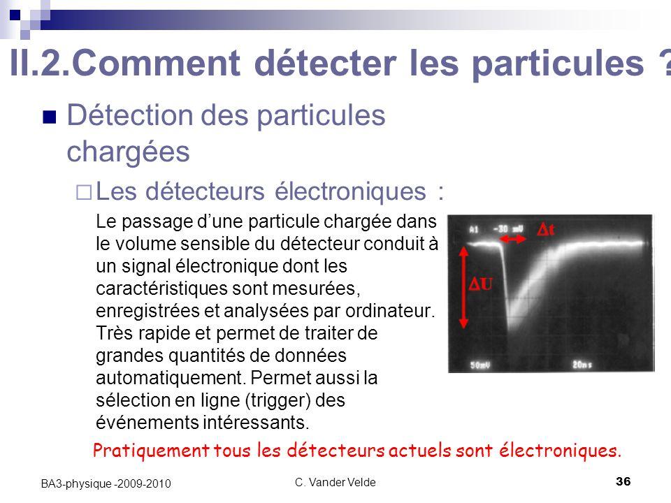 C.Vander Velde36 BA3-physique -2009-2010 II.2.Comment détecter les particules .