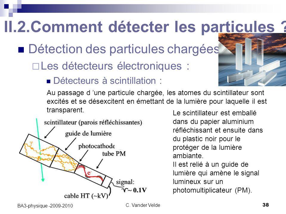 C.Vander Velde38 BA3-physique -2009-2010 II.2.Comment détecter les particules .