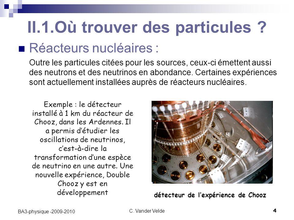 C.Vander Velde4 BA3-physique -2009-2010 II.1.Où trouver des particules .