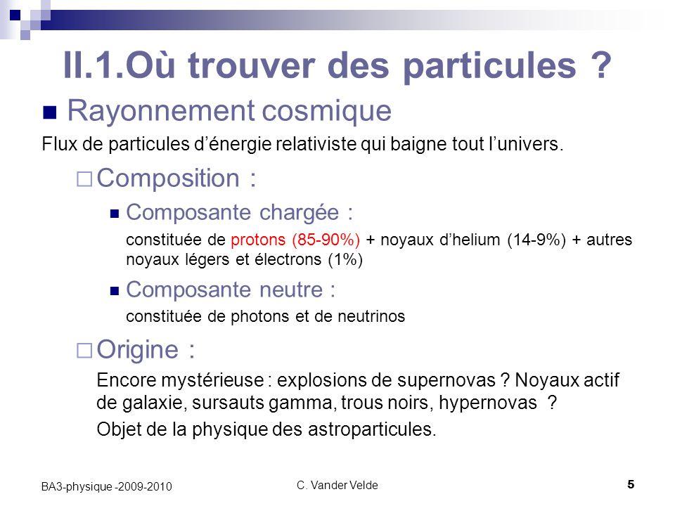 C.Vander Velde5 BA3-physique -2009-2010 II.1.Où trouver des particules .