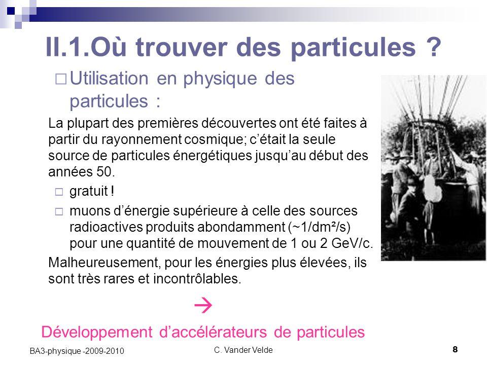 C.Vander Velde8 BA3-physique -2009-2010 II.1.Où trouver des particules .