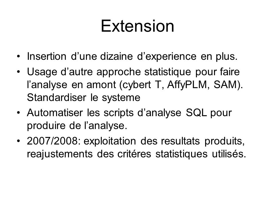 Extension Insertion d'une dizaine d'experience en plus.