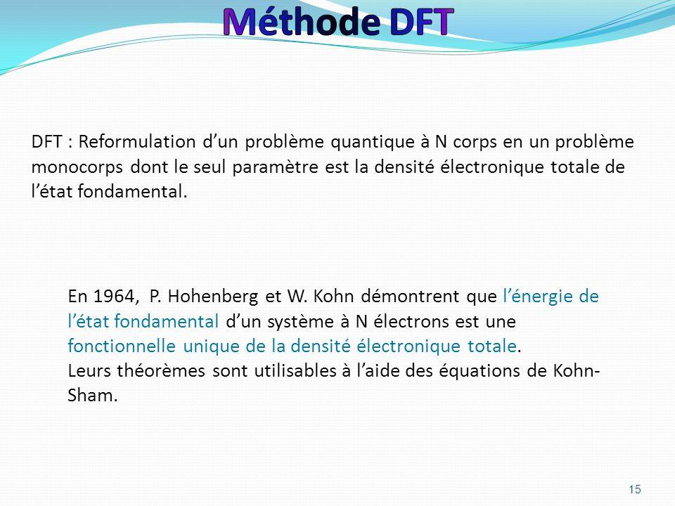 15 DFT : Reformulation d'un problème quantique à N corps en un problème monocorps dont le seul paramètre est la densité électronique totale de l'état