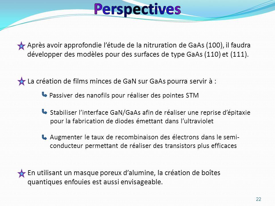 22 Après avoir approfondie l'étude de la nitruration de GaAs (100), il faudra développer des modèles pour des surfaces de type GaAs (110) et (111). St