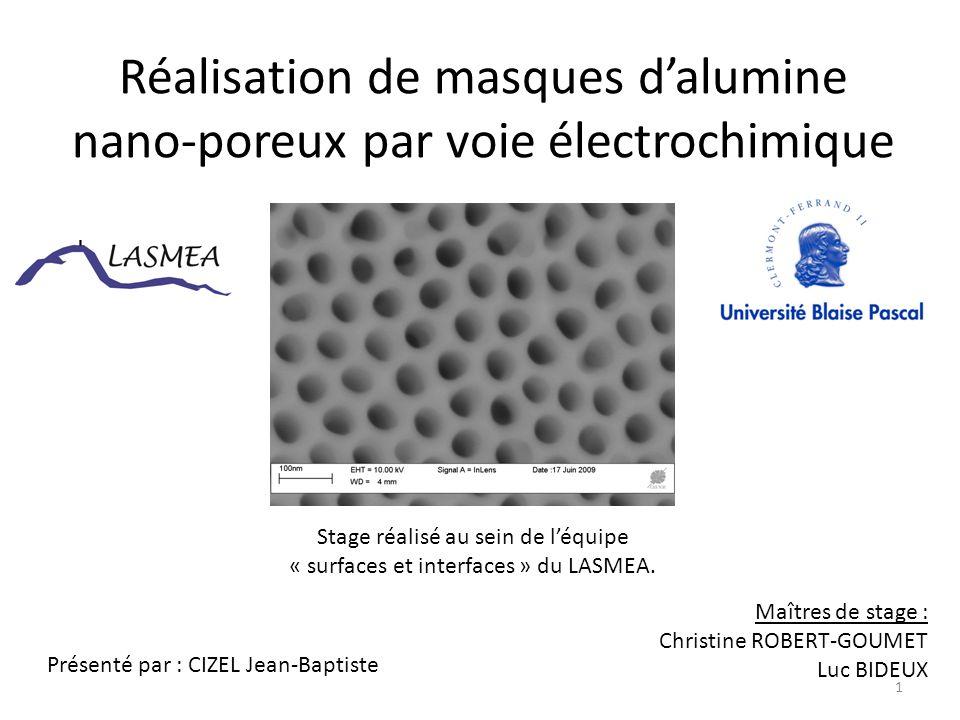 Sommaire Introduction Les masques d'alumine nano-poreux : principe de fabrication Expériences et résultats portant sur la fabrication des masques – Première anodisation : croissance d'une épaisse couche d'alumine nano- poreuse – Suppression de la couche d'oxyde créée lors de la première anodisation – Deuxième anodisation : croissance d'une couche d'alumine nano-poreuse ordonnée – Ouverture des pores Conclusion et perspectives 2