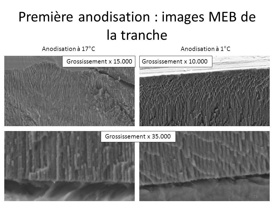 Première anodisation : images MEB de la tranche Grossissement x 15.000Grossissement x 10.000 Grossissement x 35.000 15 Anodisation à 17°CAnodisation à