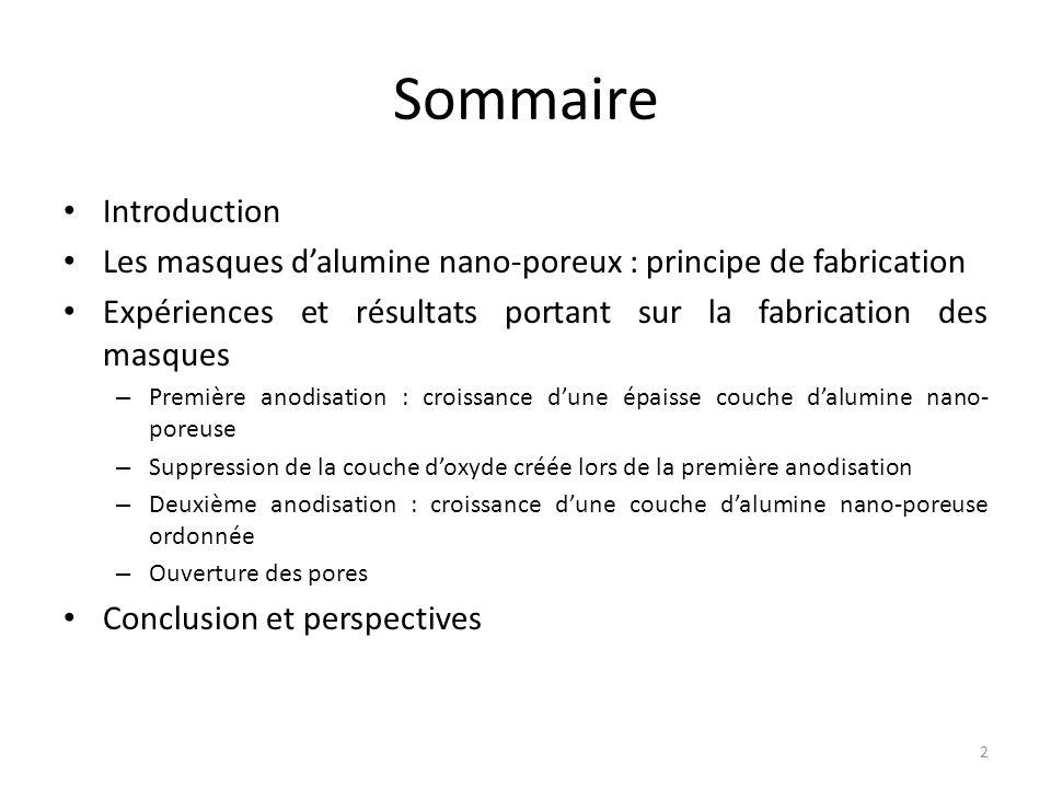 Sommaire Introduction Les masques d'alumine nano-poreux : principe de fabrication Expériences et résultats portant sur la fabrication des masques – Pr