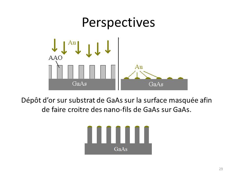 Perspectives Dépôt d'or sur substrat de GaAs sur la surface masquée afin de faire croitre des nano-fils de GaAs sur GaAs. 29