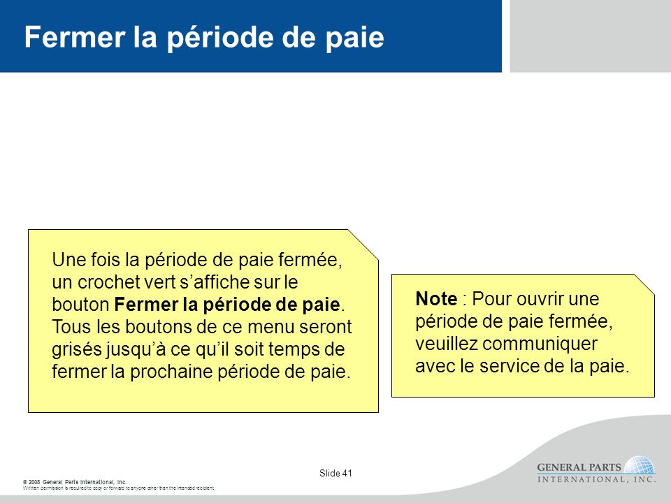 © 2008 General Parts International, Inc. Written permission is required to copy or forward to anyone other than the intended recipient. Slide 41 Ferme