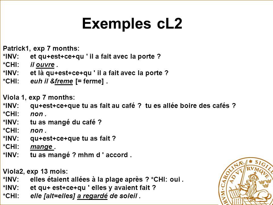 Exemples cL2 Patrick1, exp 7 months: *INV:et qu+est+ce+qu il a fait avec la porte .