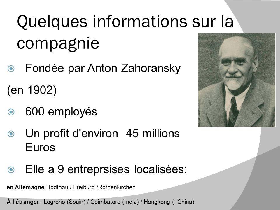 Quelques informations sur la compagnie  Fondée par Anton Zahoransky (en 1902)  600 employés  Un profit d'environ 45 millions Euros  Elle a 9 entre