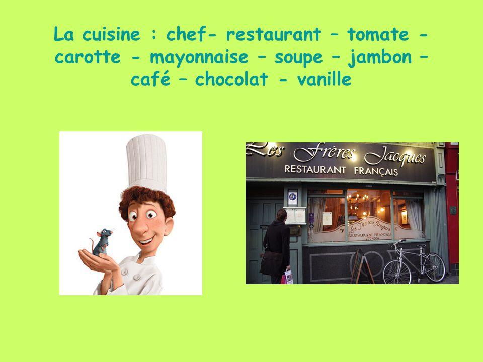 La cuisine : chef- restaurant – tomate - carotte - mayonnaise – soupe – jambon – café – chocolat - vanille