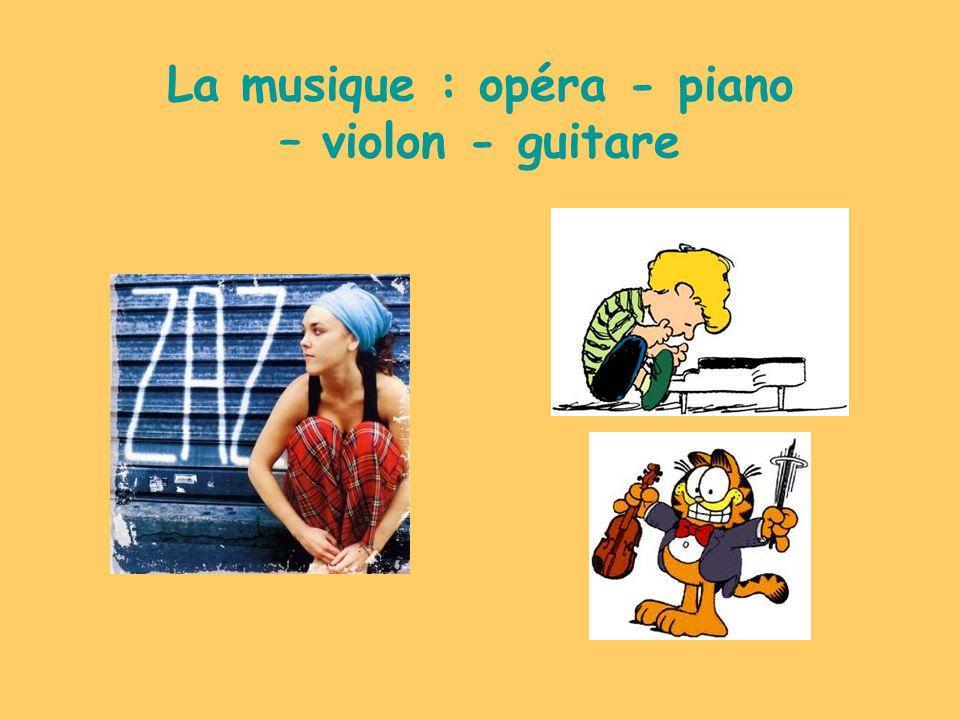 La musique : opéra - piano – violon - guitare