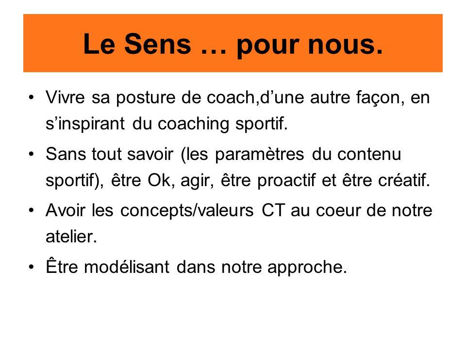 Le Sens … pour nous. Vivre sa posture de coach,d'une autre façon, en s'inspirant du coaching sportif. Sans tout savoir (les paramètres du contenu spor