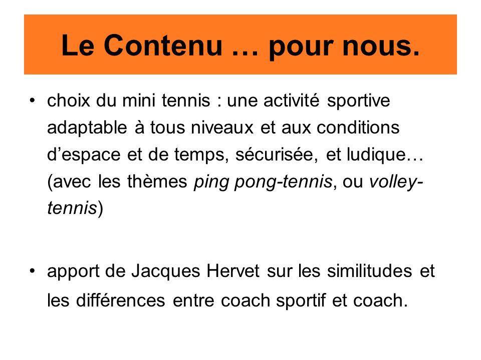 Le Contenu … pour nous. choix du mini tennis : une activité sportive adaptable à tous niveaux et aux conditions d'espace et de temps, sécurisée, et lu