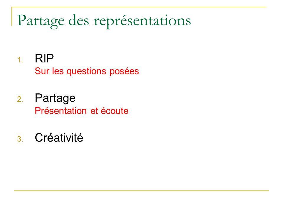 Partage des représentations 1. RIP Sur les questions posées 2.
