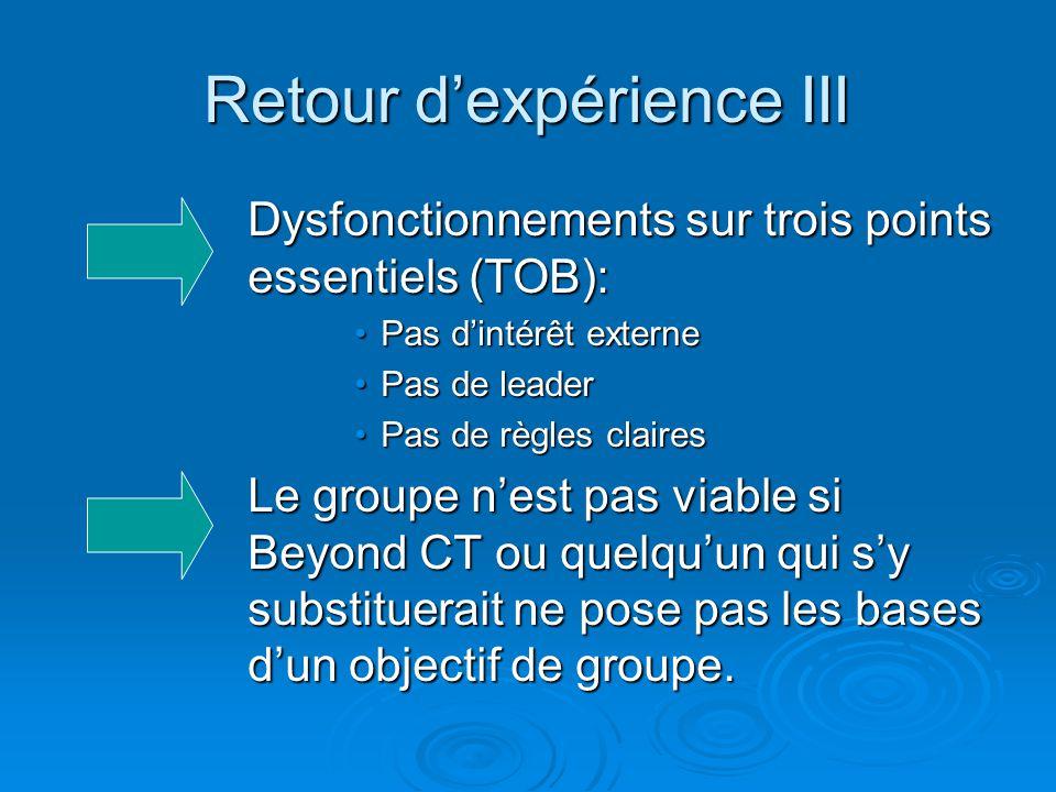 Retour d'expérience III Dysfonctionnements sur trois points essentiels (TOB): Pas d'intérêt externePas d'intérêt externe Pas de leaderPas de leader Pa