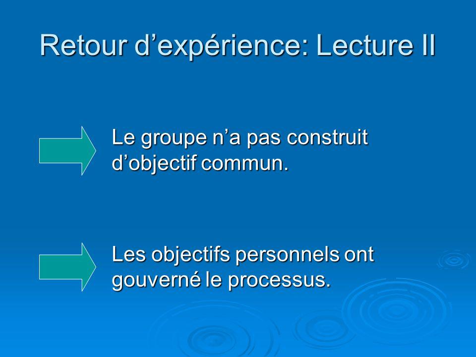 Retour d'expérience: Lecture II Le groupe n'a pas construit d'objectif commun. Les objectifs personnels ont gouverné le processus.
