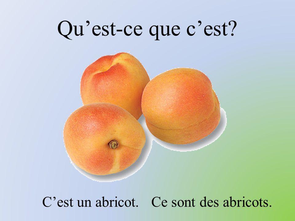 Qu'est-ce que c'est? C'est un abricot. Ce sont des abricots.