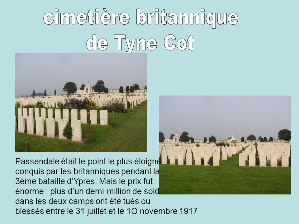Passendale était le point le plus éloigné conquis par les britanniques pendant la 3ème bataille d'Ypres. Mais le prix fut énorme : plus d'un demi-mill
