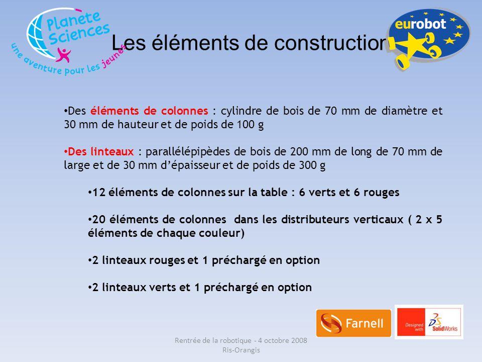 Les éléments de construction Des éléments de colonnes : cylindre de bois de 70 mm de diamètre et 30 mm de hauteur et de poids de 100 g Des linteaux :