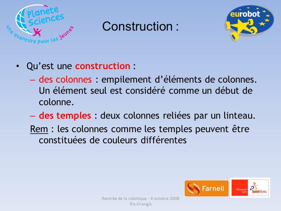 Construction : Qu'est une construction : – des colonnes : empilement d'éléments de colonnes. Un élément seul est considéré comme un début de colonne.