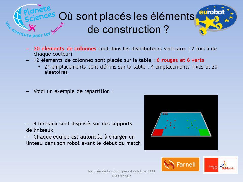Où sont placés les éléments de construction ? – 20 éléments de colonnes sont dans les distributeurs verticaux ( 2 fois 5 de chaque couleur) – 12 éléme