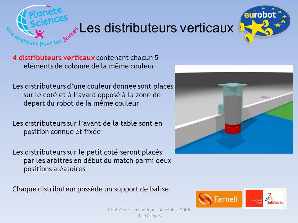 Les distributeurs verticaux 4 distributeurs verticaux contenant chacun 5 éléments de colonne de la même couleur Les distributeurs d'une couleur donnée