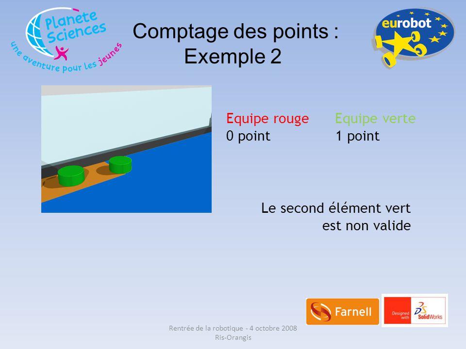 Comptage des points : Exemple 2 Equipe rouge Equipe verte 0 point 1 point Le second élément vert est non valide Rentrée de la robotique - 4 octobre 20