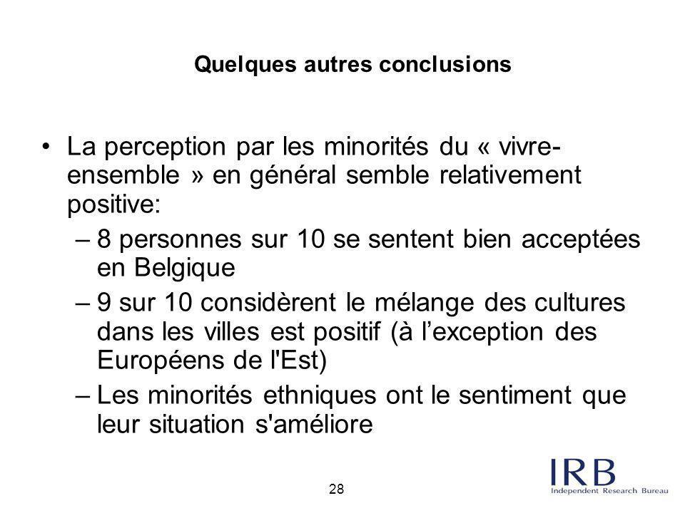 28 La perception par les minorités du « vivre- ensemble » en général semble relativement positive: –8 personnes sur 10 se sentent bien acceptées en Be