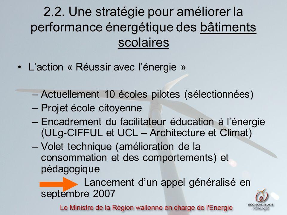 2.2. Une stratégie pour améliorer la performance énergétique des bâtiments scolaires L'action « Réussir avec l'énergie » –Actuellement 10 écoles pilot