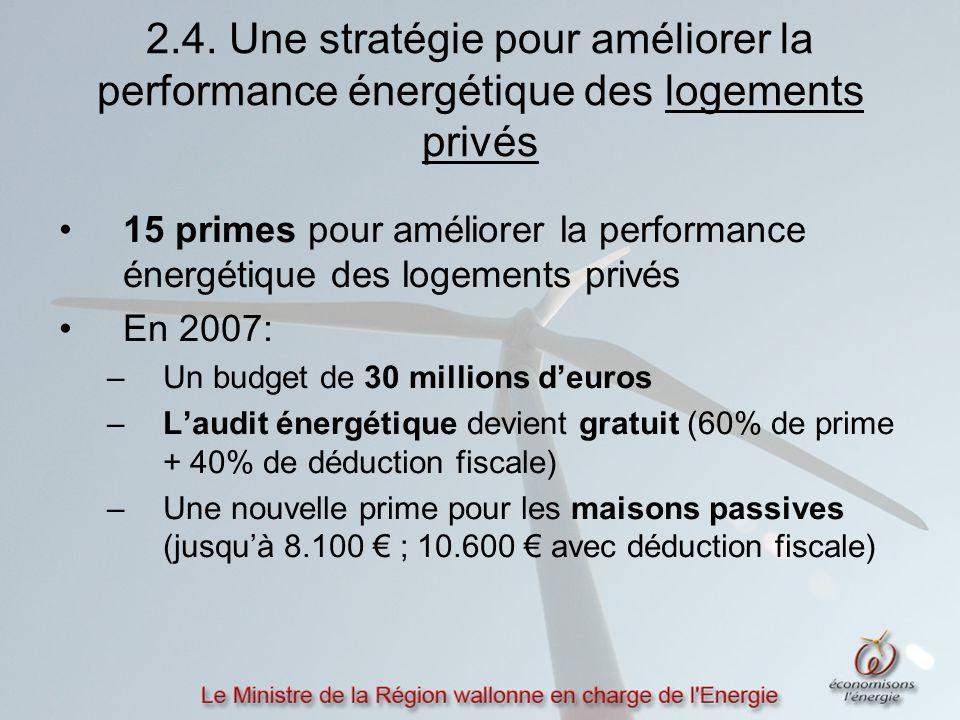 2.4. Une stratégie pour améliorer la performance énergétique des logements privés 15 primes pour améliorer la performance énergétique des logements pr
