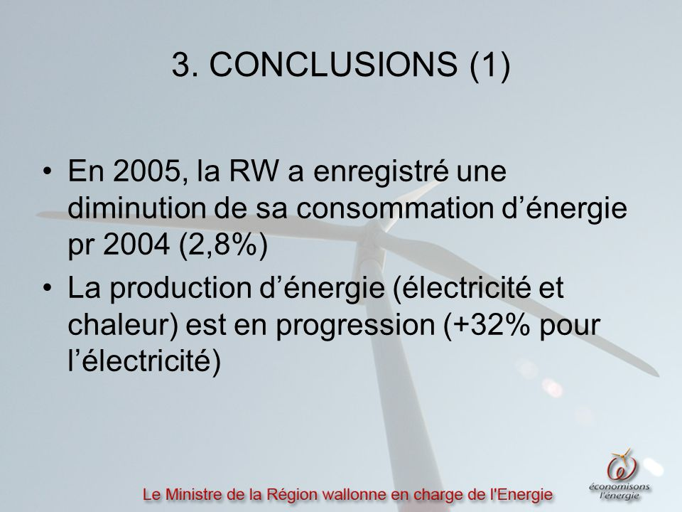 3. CONCLUSIONS (1) En 2005, la RW a enregistré une diminution de sa consommation d'énergie pr 2004 (2,8%) La production d'énergie (électricité et chal