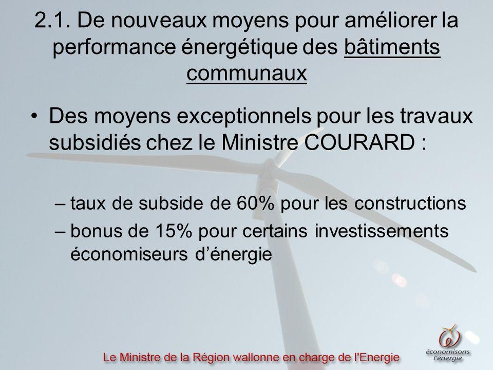 2.1. De nouveaux moyens pour améliorer la performance énergétique des bâtiments communaux Des moyens exceptionnels pour les travaux subsidiés chez le