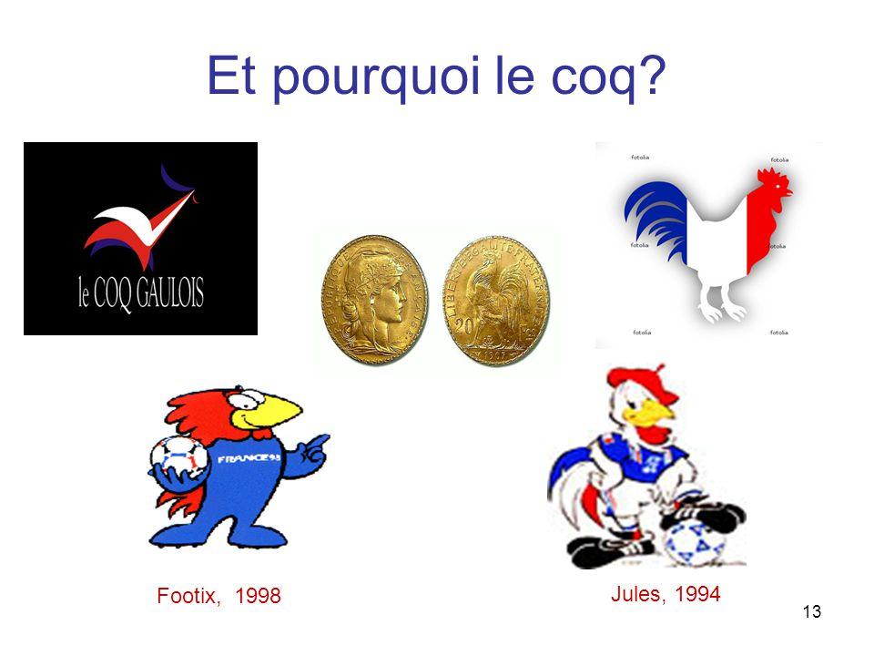 13 Et pourquoi le coq Jules, 1994 Footix, 1998