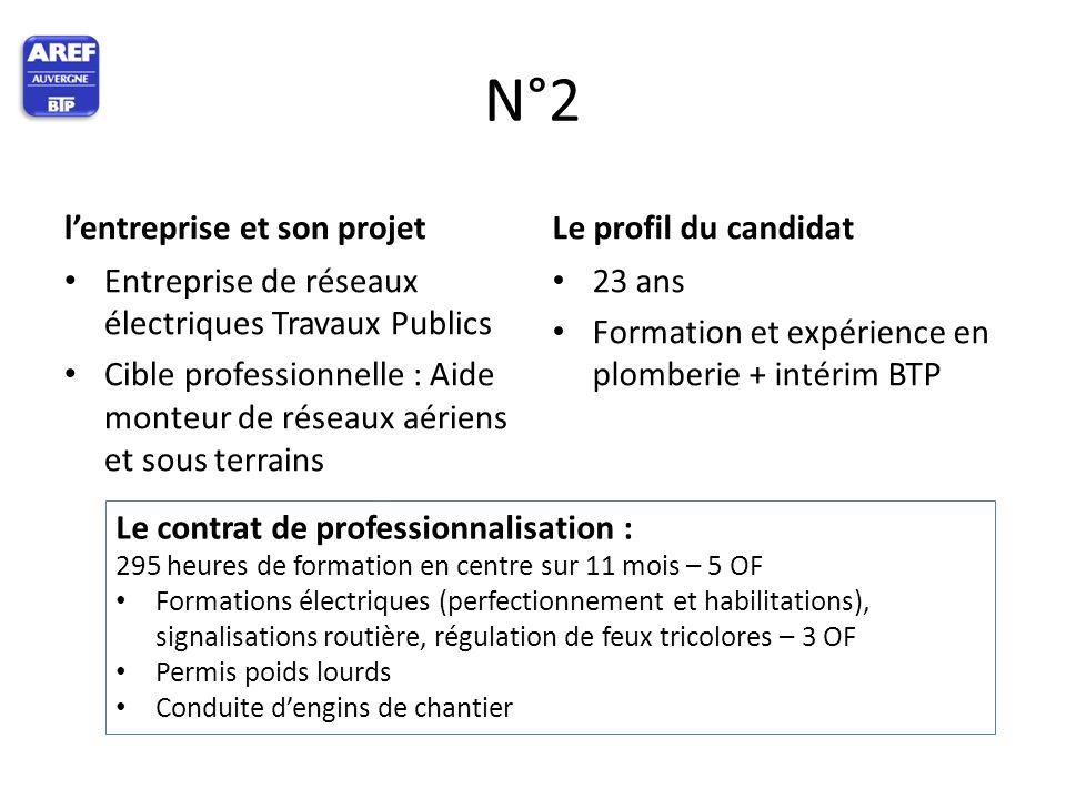 N°2 l'entreprise et son projet Entreprise de réseaux électriques Travaux Publics Cible professionnelle : Aide monteur de réseaux aériens et sous terra