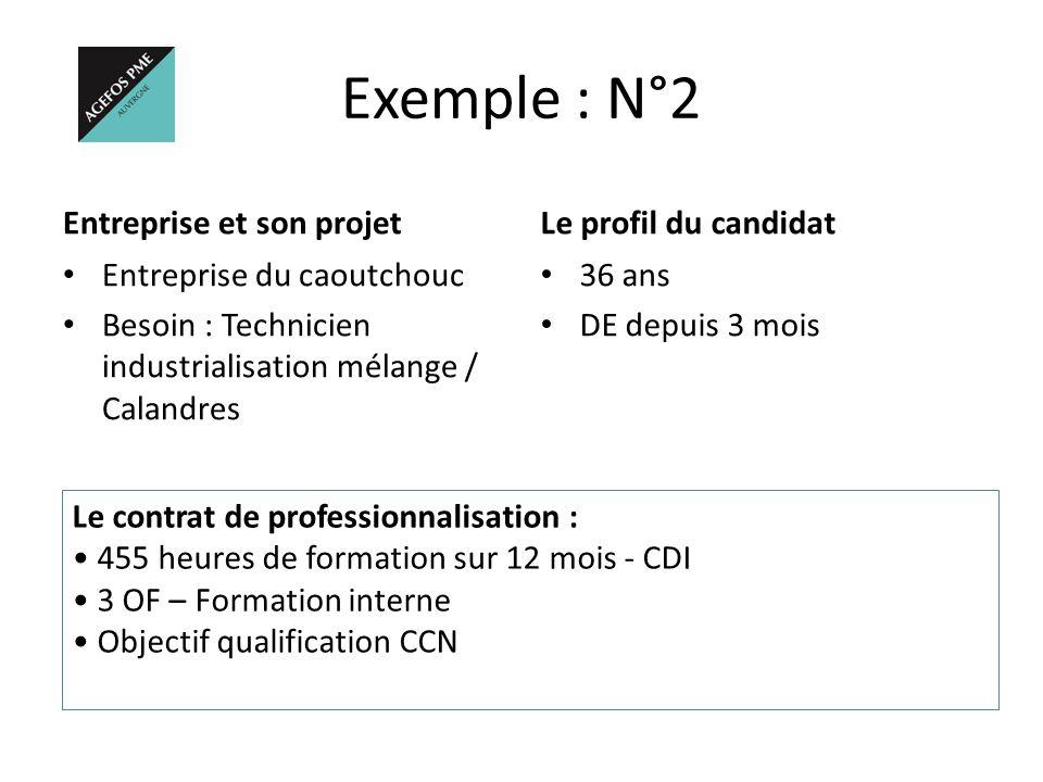 Exemple : N°2 Entreprise et son projet Entreprise du caoutchouc Besoin : Technicien industrialisation mélange / Calandres Le profil du candidat 36 ans