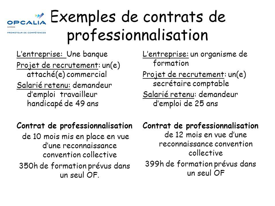 Exemples de contrats de professionnalisation L'entreprise: Une banque Projet de recrutement: un(e) attaché(e) commercial Salarié retenu: demandeur d'e
