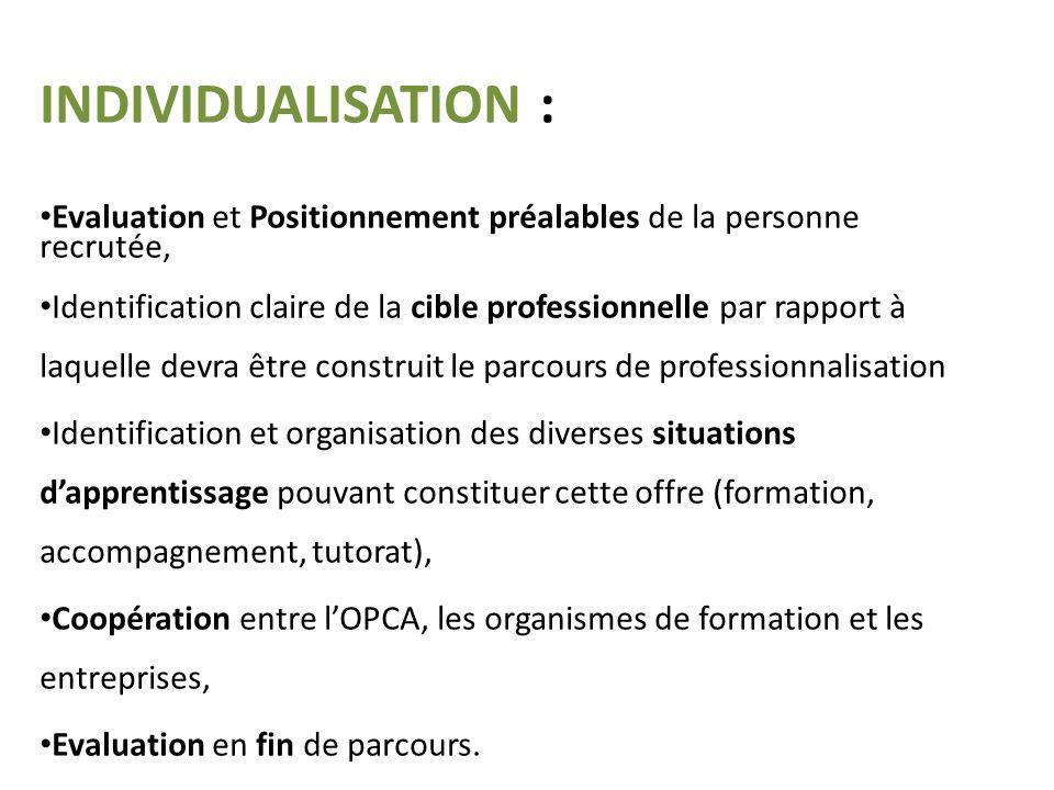 INDIVIDUALISATION : Evaluation et Positionnement préalables de la personne recrutée, Identification claire de la cible professionnelle par rapport à l