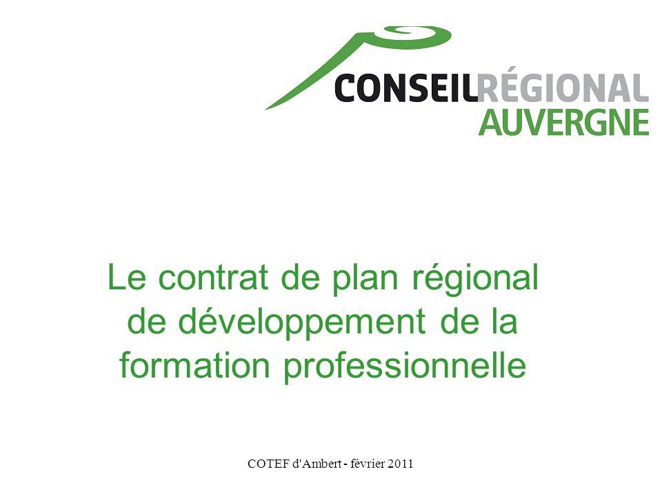 COTEF d'Ambert - février 2011 Le contrat de plan régional de développement de la formation professionnelle