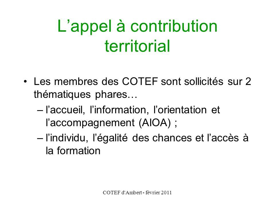COTEF d'Ambert - février 2011 L'appel à contribution territorial Les membres des COTEF sont sollicités sur 2 thématiques phares… –l'accueil, l'informa