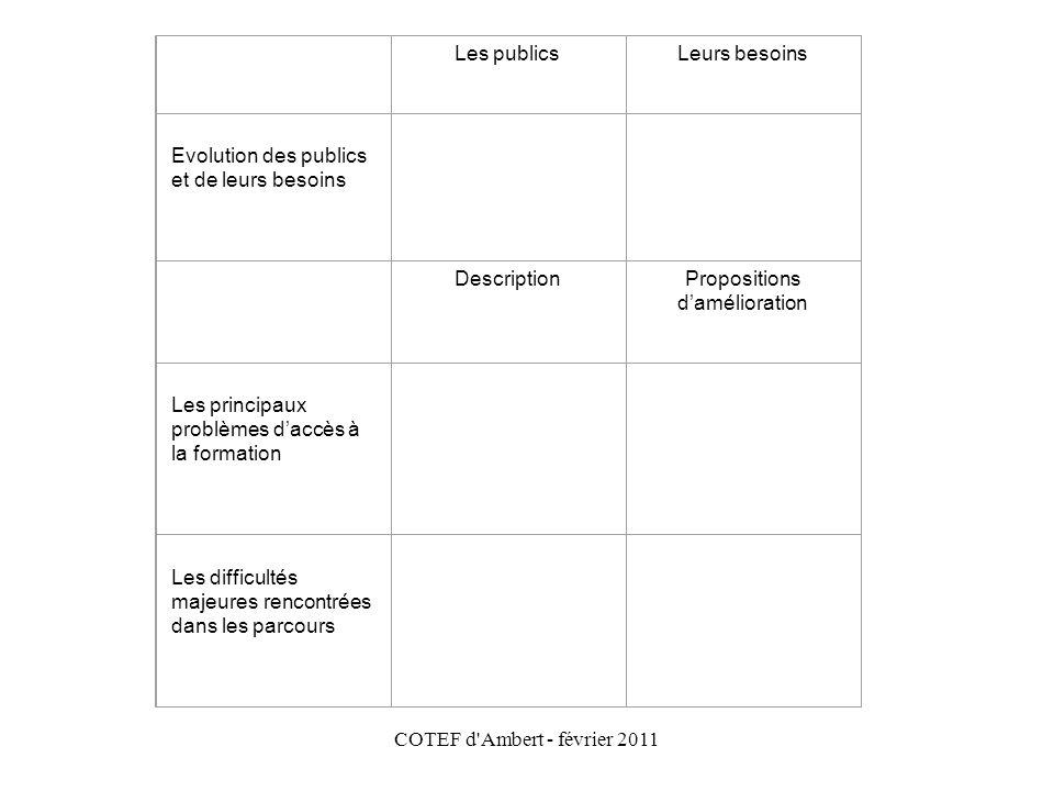 COTEF d'Ambert - février 2011 Les publicsLeurs besoins Evolution des publics et de leurs besoins DescriptionPropositions d'amélioration Les principaux